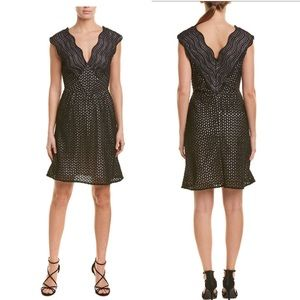 NEW Reiss Black Marianna Lace Fit & Flare Dress 6